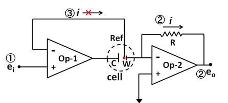 ポテンショスタットは最少2つのオペアンプの組み合わせで構成できる。
